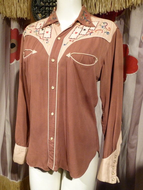 1940 Cowboy Joe Las Vegas Gaberdine Shirt Embroide