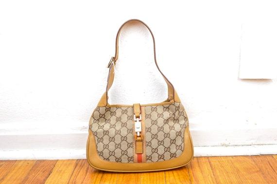 1990 Gucci Logo Shoulder Bag Tom Ford Era Camel Cl
