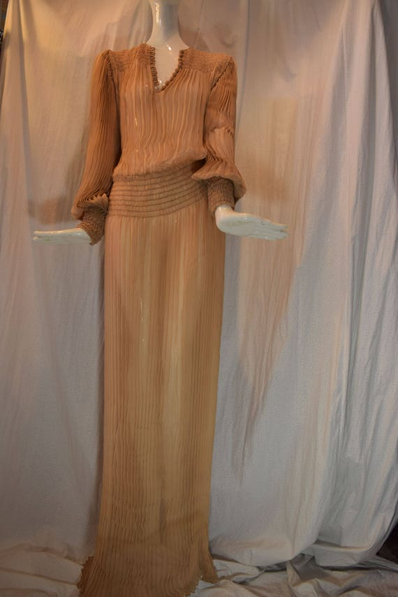 1970's Scott Barrie Silk Goddess Fortuny Dress Boh