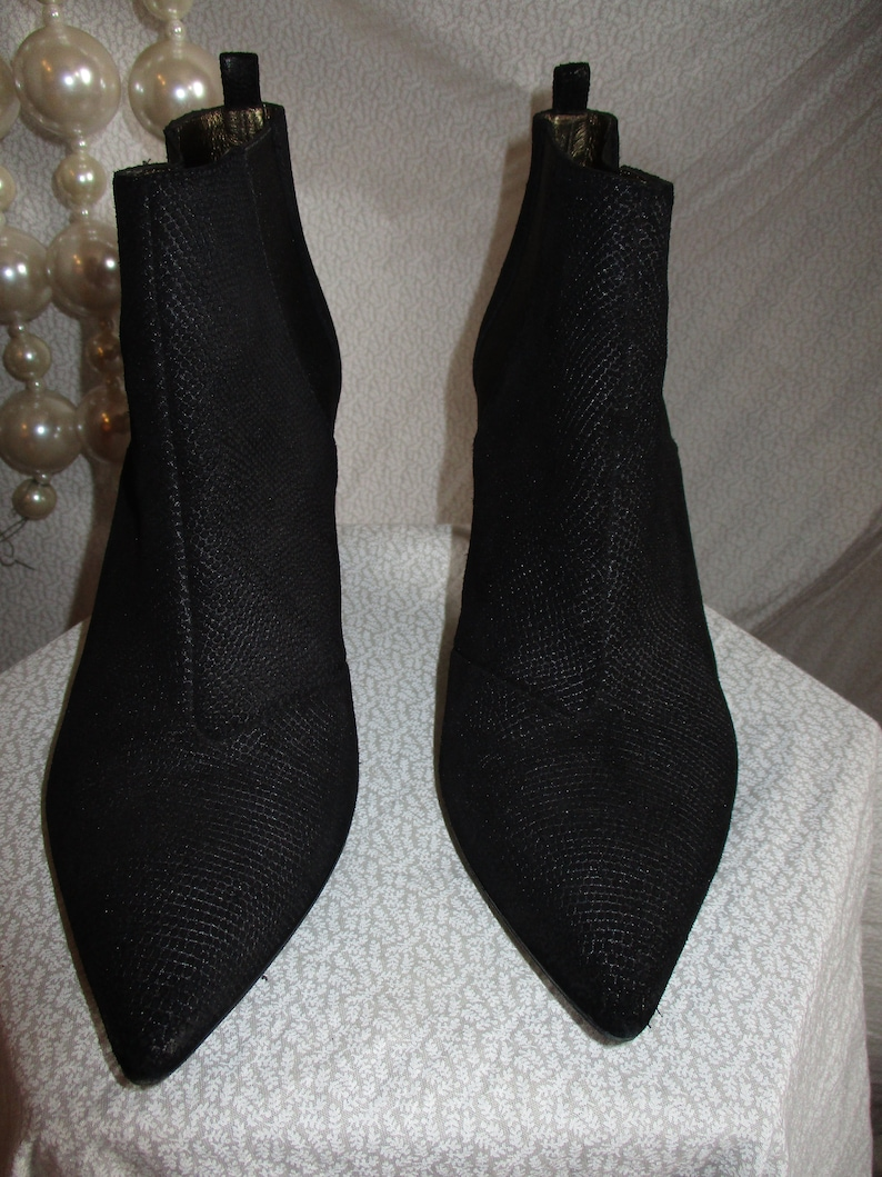1990 Lanvin Booties Peccary Suede Gold Heel France 7.5