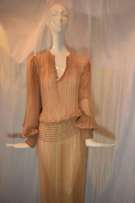 1970's Scott Barrie Silk Goddess Fortuny Dress Bo… - image 4