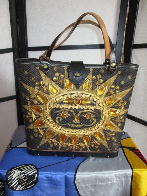 1960's Texas Handbag Appliques Sunburst Enid Colli