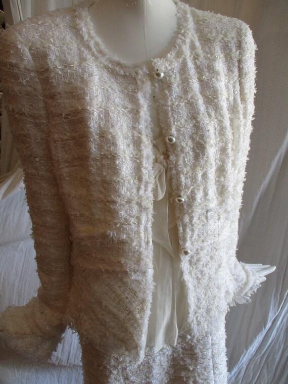 Chanel Jacket Ivory Deconstructed Bridal 1990's L… - image 4