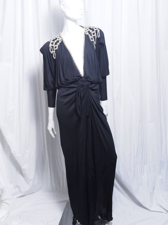 1970 Holly Harp Knit Gown Black Embellishment Red