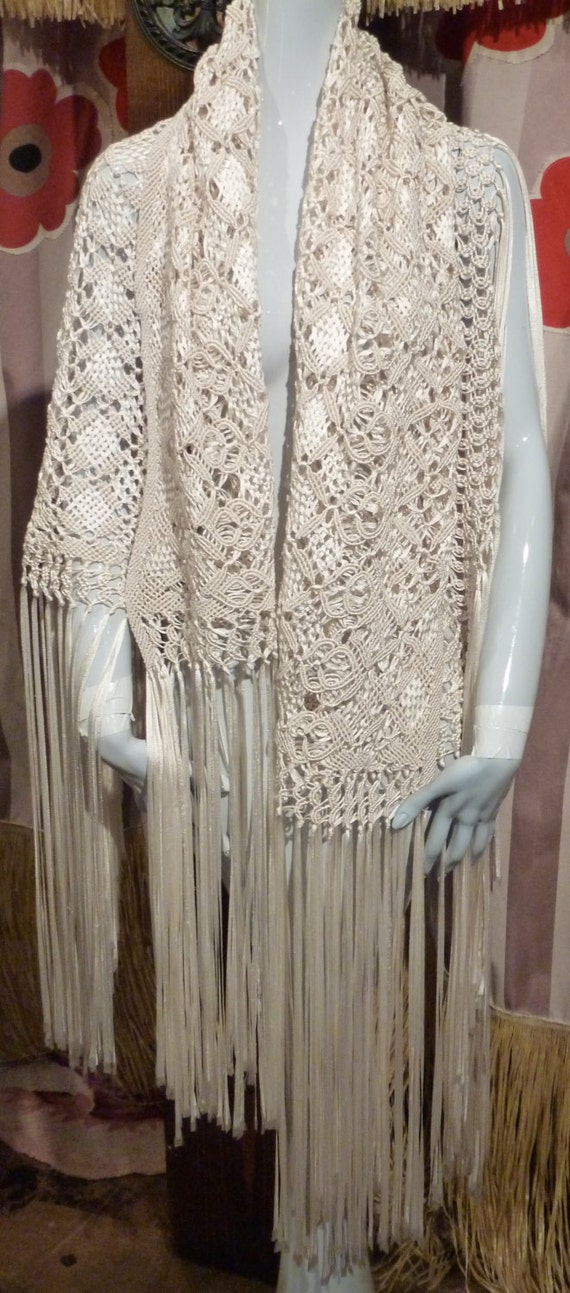 Ribbon Shawl 1940 Ivory Bridal Hippie Rayon Silk C