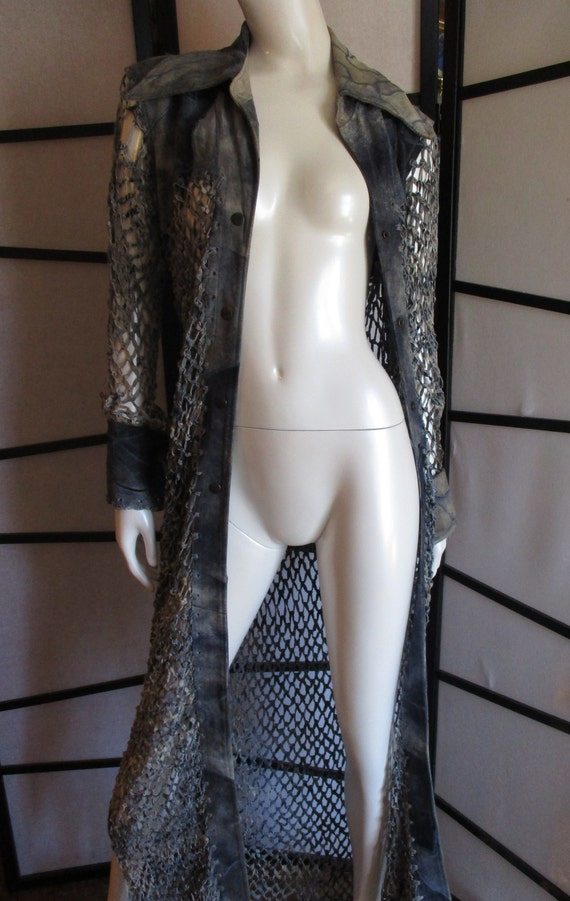 1970's Leather Duster Crochet Denim Small Woodstoc