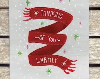 5x Thinking Of You Warmly . Postcard. Autumn. Winter. Christmas. comfortable. Card. Invitation. Walk. Friendship. hygge