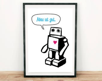 Robot. Heart. All's well. Blue. Print Din A4. Type. Font. Text. Ink. Sci-fi. Gift. Christmas