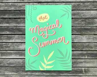 Notebook A4 Hardcover with SoftFeelfolie . That Magical Summer . Diary. Journaling. Adventure. Tropical.