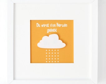 Loved by heart. Orange. Mural with 3d effect cloud. Star. Gift. Christmas. Baptism. Birth