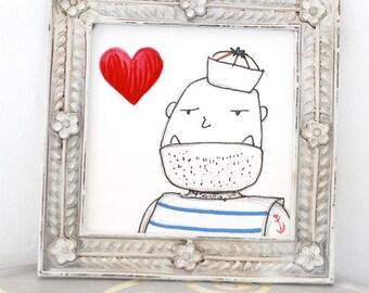 Bananenbubibullerjan now bigger!. 12 x 12 cm. Pressure. Sailor. Anchor. Heart. Ahoy. Maritim.
