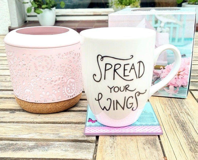 Spread your wings . screenprinted mug . image 0