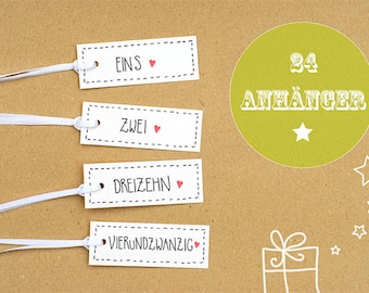 24 Advent calendar numbers . Gift tags . Poison Tags . Stationery. Gift. Trailer. Christmas