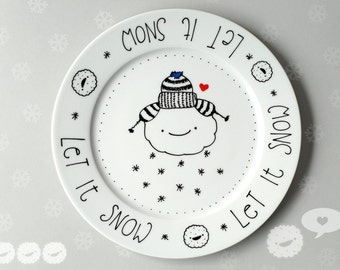 Snow Cloud . Cookie Plate . Christmas . Winter . handpainted . unique