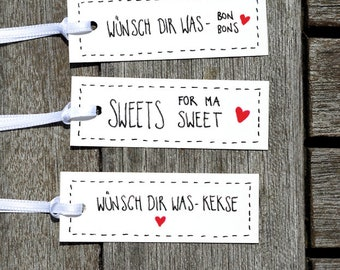 36xWünsch-dir-what-biscuits/candies. Sweets for Ma Sweet. Gift tags. Wedding. Gift. Birthday. Trailer. Stationery