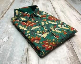 floral men's shirt,100% cotton,tailored product