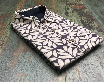 men's shirt,flowers,gray and white,100%cotton,regular fit