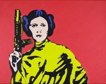 Original painting | Princess Leia (Carrie Fisher), Star Wars | Pop Art Acrylic Painting