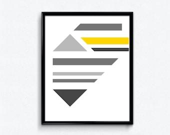 Abstract Minimalist Geometric Art Print | Modern, Mid Century, Contemporary