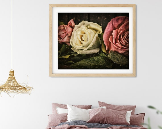 Vintage Inspired Rose Photo Print, Regencycore, Floral Wall Art, Fine Art Photography
