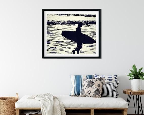 Black and White Surf Print, Surf Wall Decor, Silhouette Art, Coastal Print