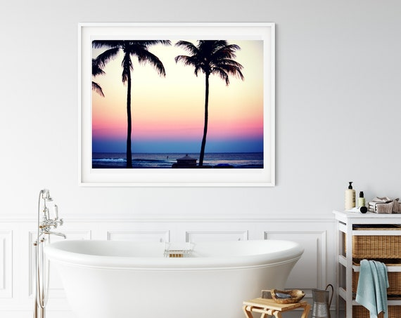 Hollywood Beach Photo Print, Ft Lauderdale Florida, Tropical Sunset Beach Decor