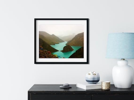 Mountain Lake Photo Print, Yamdrok Lake, Tibetan Art, Lake House Decor