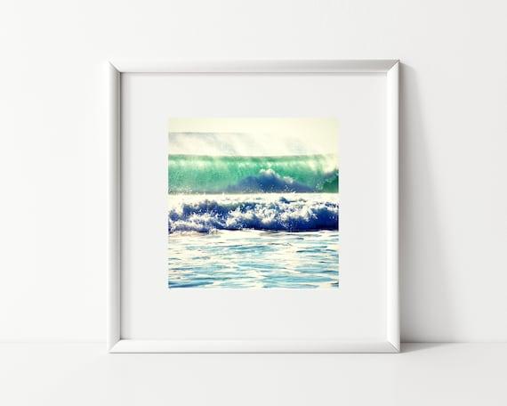 Ocean Wave Photo Print, Square Print, Turquoise Decor
