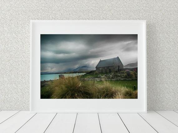 Country Church Photo Print, New Zealand Photography, Farmhouse Decor