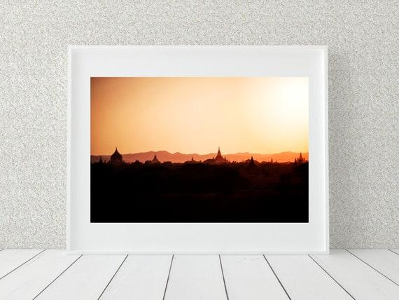 Sunset Photo Print, Myanmar Photography, Spiritual Decor