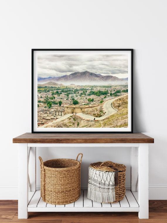 Mountain Landscape Photo Print, Gyantse, Tibet, Chinese Wall Art