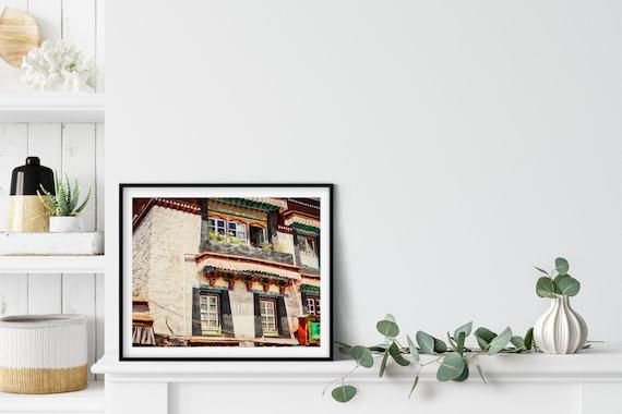 Tibetan Houses Photo Print, Lhasa, Tibet, Asian Decor