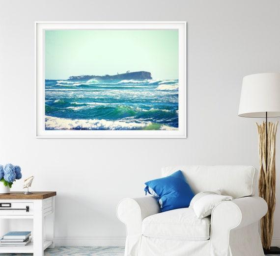 Ocean Waves Photo Print, Old Woman Island, Queensland Print, Coastal Decor
