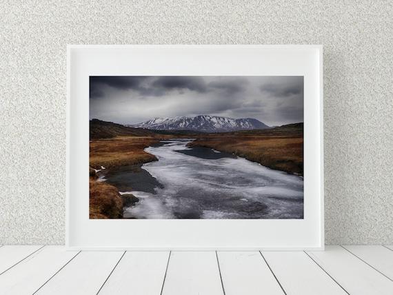 Winter Landscape Photo Print, Iceland Photography, Winter Decor