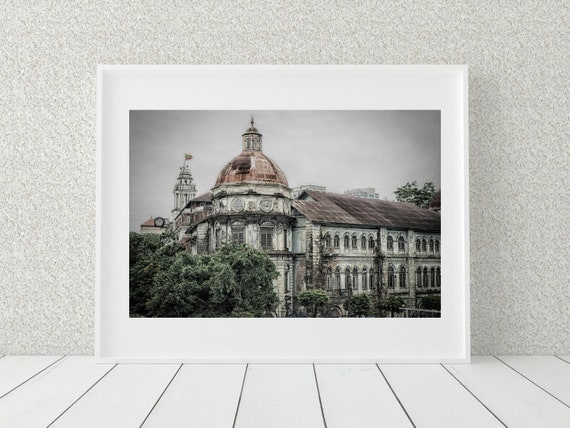 Colonial Architecture Photo Print, Myanmar Photography