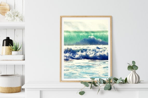Ocean Wave Photo Print, Sunshine Coast, Queensland, Tropical Art