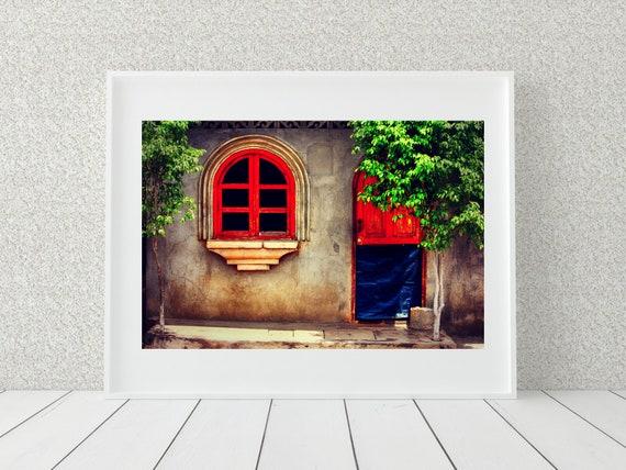 Red Window Frame Photo Print, Nicaragua Photography, Rustic Decor