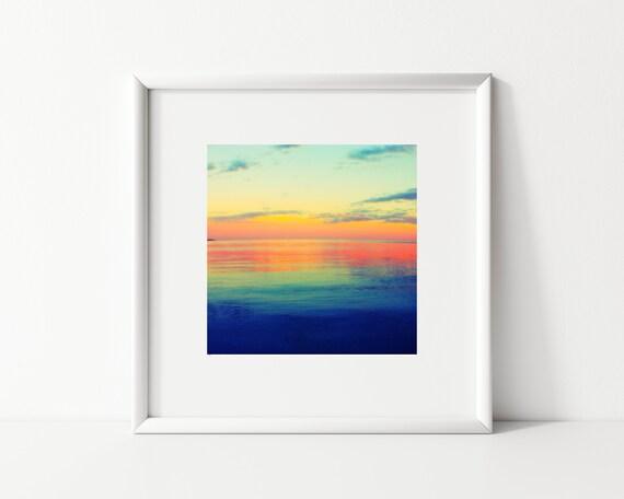 Colorful Sunset Photo Print, Square Print, Pastel Decor