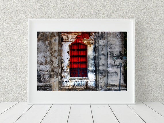 Red Window Photo Print, Architecture Photography, Rustic Decor