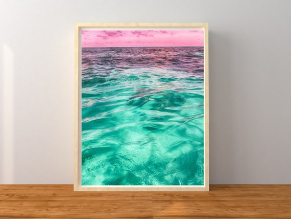 Pink and Blue Ocean Photography Print, Great Barrier Reef Wall Decor, Coastal Decor