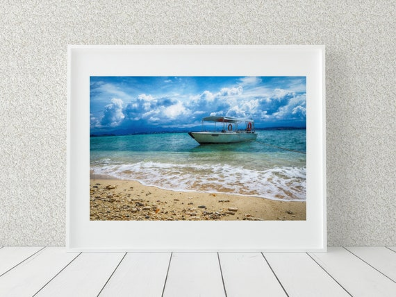 Nautical Boat Photo Print, Malaysia Photography, Coastal Decor