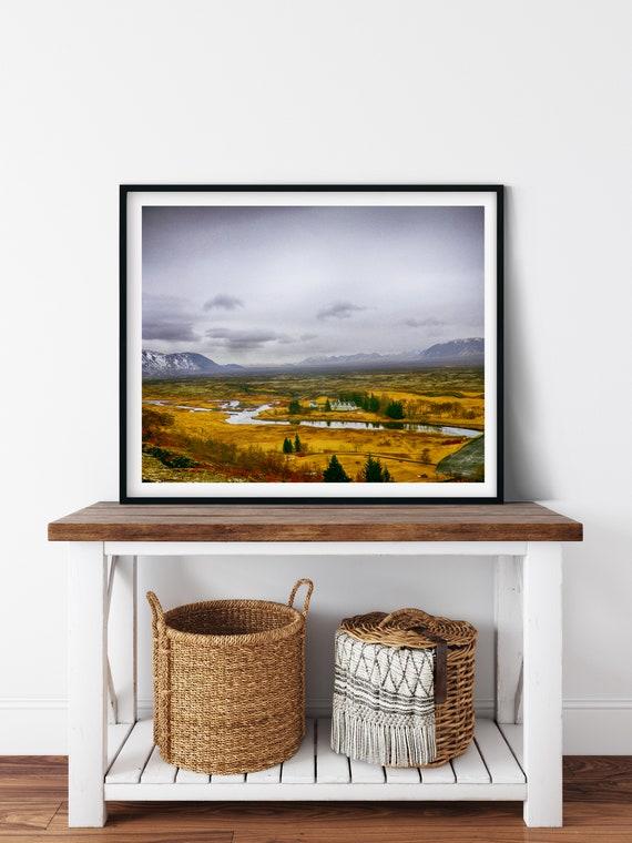 Icelandic Landscape Photo Print, Thingvellir National Park, Iceland, Hygge Wall Art