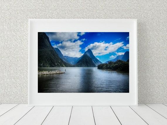 Milford Sound Photo Print, New Zealand Photography, Nature Decor