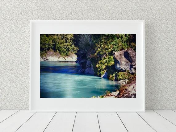 River Landscape Photo Print, New Zealand Photography, Nature Wall Art