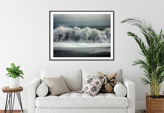 Stormy Sea Photo Print, Iceland Photography, Coastal Decor