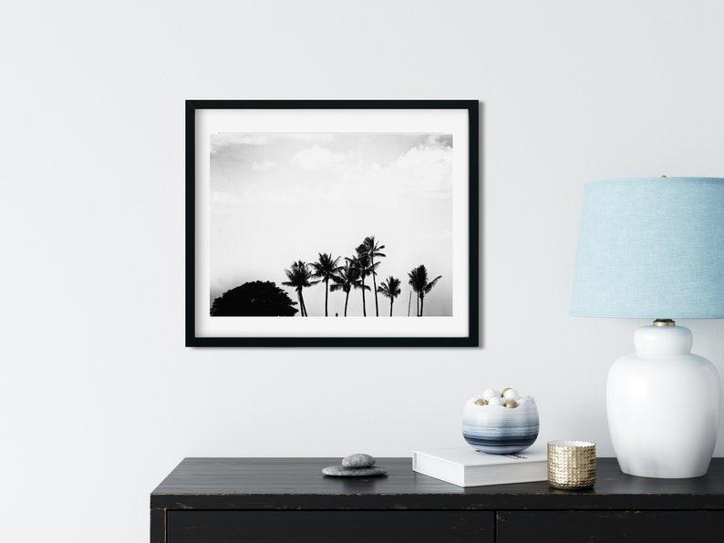 Black And White Palm Photo Print Hawaii Wall Art Silhouette image 0