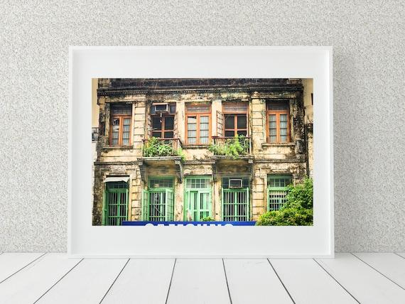 Rustic Window Photo Print, Colonial Architecture, Myanmar Print