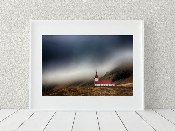 Church Photography Print, Iceland Photography, Spiritual Decor