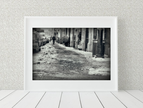 Montreal Photo Print, Black And White Photography, Winter Decor