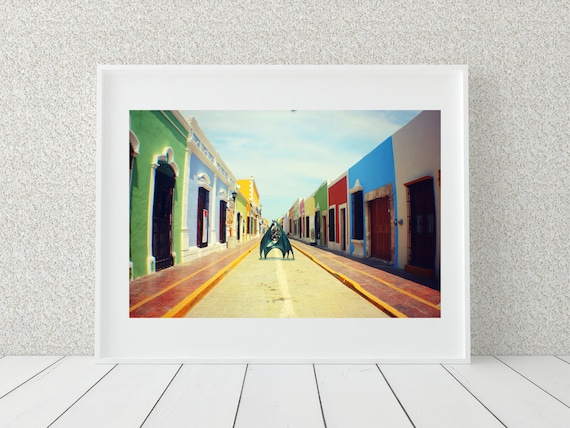 Colorful Houses Photo Print, Mexican Wall Art, Campeche Print, Mexico Photography